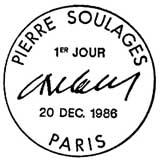 Oblitération 1er jour à Paris le20 décembre 1986
