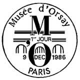 Oblitération 1er jour à Paris le 9 décembre 1986