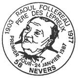 Oblitération 1er jour à Nevers le 24 janvier 1987