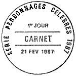 Oblitération 1er jour à Paris le 21 février 1987