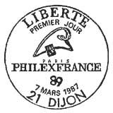 Oblitération 1er jour à Dijon le 7 mars 1987