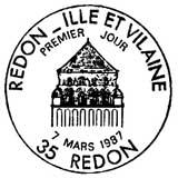 Oblitération 1er jour à Redon le 7 mars 1987