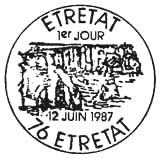 Oblitération 1er jour à Etretat le 12 juin 1987