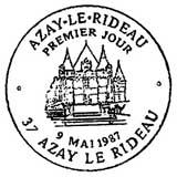 Oblitération 1er jour à Azai le Rideau le 9 mai 1987