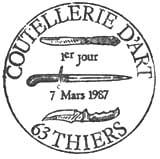Oblitération 1er jour à Thiers le 7 mars 1987