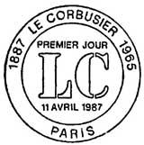 Oblitération 1er jour à Paris le 11 avril 1987