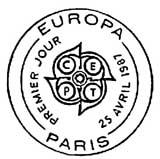 Oblitération 1er jour à Paris le 25 avril 1987
