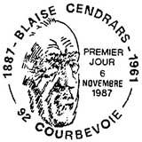 Oblitération 1er jour à Courbevoie le 6 novembre 1987