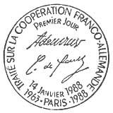 Oblitération 1er jour à Paris et Bonn (Allemagne) le 14 janvier 1988