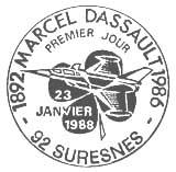 Oblitération 1er jour à Suresnes le 23 janvier 1988