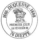 Oblitération 1er jour à Dieppe le 20 février 1988