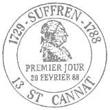Oblitération 1er jour à St Cannat et St Tropez le 20 février 1988