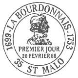 Oblitération 1er jour à Saint Malo le 20 février 1988