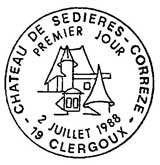 Oblitération 1er jour à Clergoux le 2 juillet 1988