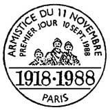 Oblitération 1er jour à Paris le 10 septembre 1988