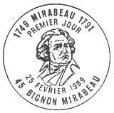 Oblitération 1er jour à Mirabeau le 25 février 1989