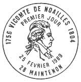 Oblitération 1er jour à Maintenon le 25 février 1989