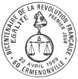 Oblitération 1er jour à Ermenonville le 22 avril 1989