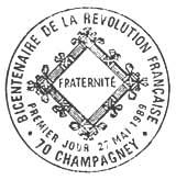 Oblitération 1er jour à Champagney le 27 mai 1989