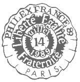 Oblitération 1er jour à Paris le 14 juillet 1989