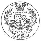 Oblitération 1er jour à Puteaux le 21 avril 1989