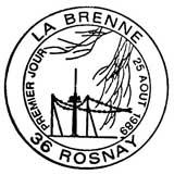Oblitération 1er jour à Rosnay le 25 aout 1989