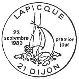 Oblitération 1er jour à Dijon le 23 septembre 1989