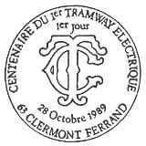 Oblitération 1er jour à Clermont-Ferrand le 28 octobre 1989