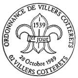 Oblitération 1er jour à Villers-Cotteret le 28 octobre 1989