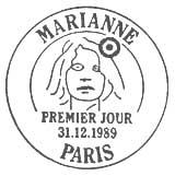 Oblitération 1er jour à Paris le 11 décembre 1989