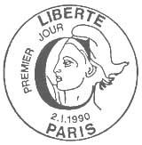 Oblitération 1er jour à Paris le 2 janvier 1990