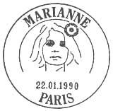 Oblitération 1er jour à Paris le 22 janvier 1990