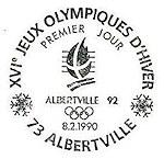 Oblitération 1er jour à Albertville le 8 févrierr 1990
