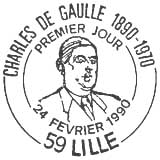 Oblitération 1er jour à Lille le 24 févrierr 1990