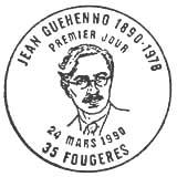 Oblitération 1er jour à Fougères le 24 mars 1990