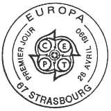 Oblitération 1er jour à Strasbourg le 28 avril 1990