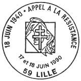 Oblitération 1er jour à Paris le 18 juin 1990