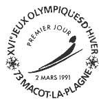 Oblitération 1er jour à La Plagne le 2 mars 1991