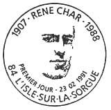 Oblitération 1er jour à l'Isle sur la Sorgue le 23 février 1991