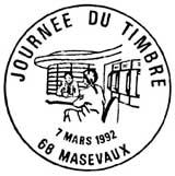 Oblitération 1er jour au Carré d'Encre à Paris et Masevaux  le 7 mars 1992'