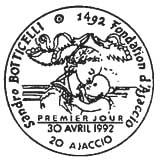 Oblitération 1er jour à Ajaccio le 30 avril 1992