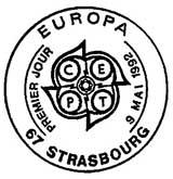 Oblitération 1er jour à Strasbourg, Saint-Dié et Essen le 9 mai 1992