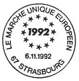 Oblitération 1er jour à Paris et Strasbourg le 6 novembre 1992
