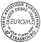 Oblitération 1er jour à Paris et Strasbourg le 17 avril 1993
