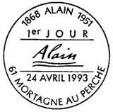 Oblitération 1er jour à Mortagne au Perche le 24 avril 1993
