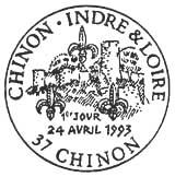 Oblitération 1er jour à Chinon le 24 avril 1993