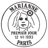 Oblitération 1er jour à Paris le 12 juillet 1993