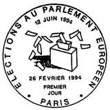 Oblitération 1er jour à Paris et Strasbourg le 26 février 1994