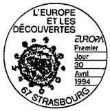 Oblitération 1er jour à Paris et Strasbourg le 30 avril 1994