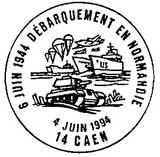 Oblitération 1er jour à Bayeux et Caen le 4 juin 1994